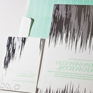 This customization of the Fugue design features 2 color foil stamping and 1 color letterpress.