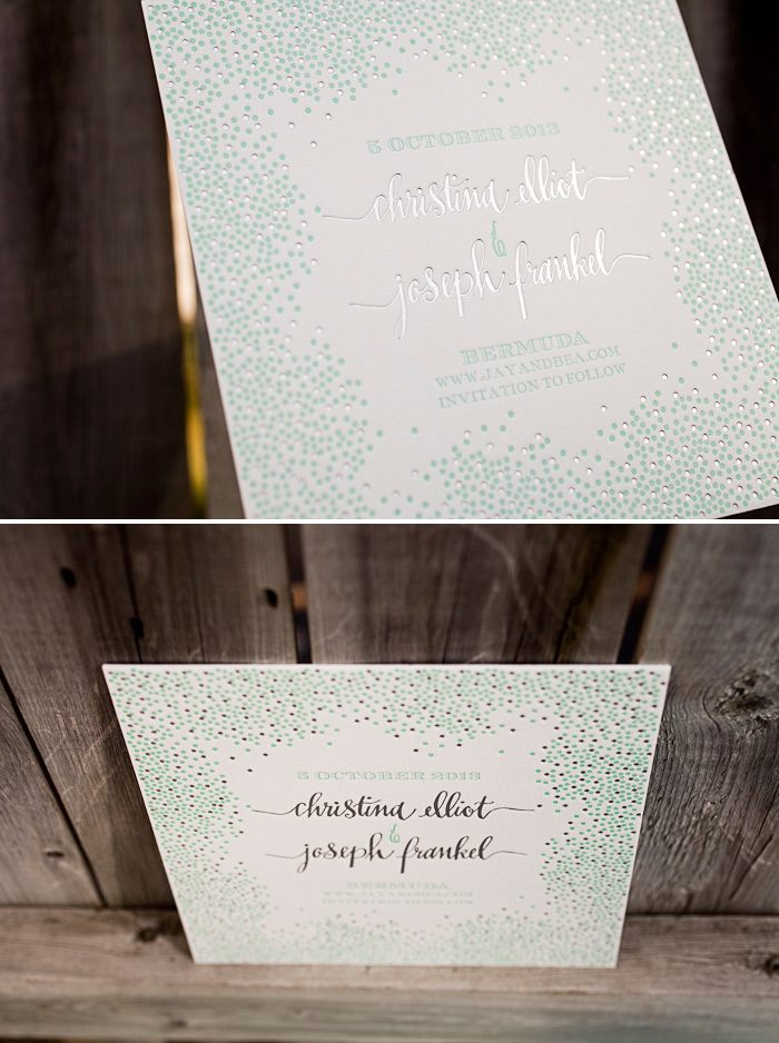 A customization featuring foil and letterpress on our Joie de Vivre design by Kamal.