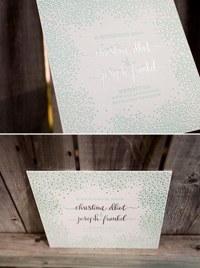 A customization featuring foil and letterpress on our Joie de Vivre design by Kamal.