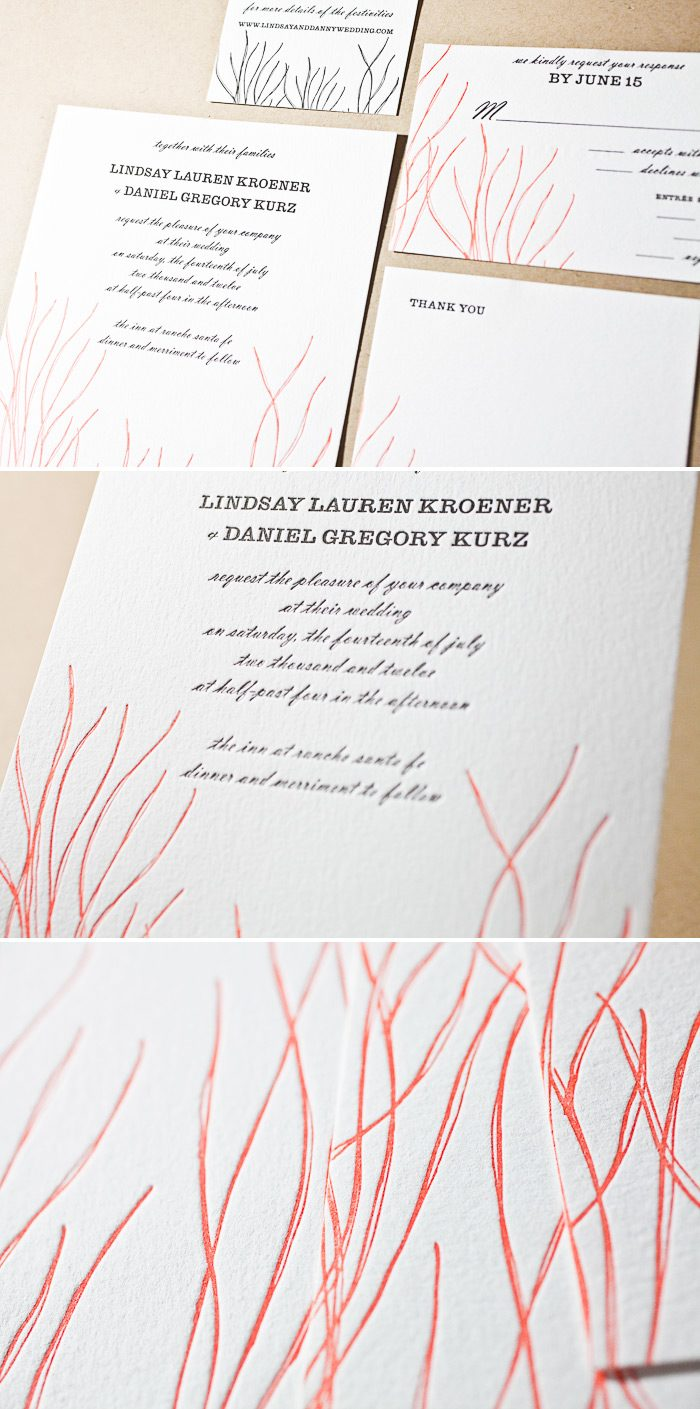 This colorful and nautical letterpress wedding invitation is a customization of Bella Figura's Antigua design.