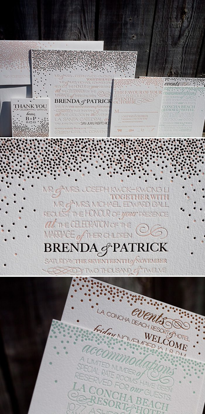 Modern and unique letterpress wedding invitations