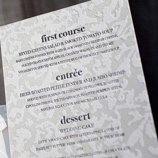 Our letterpress day of piece provide an extra personal touch to your reception.