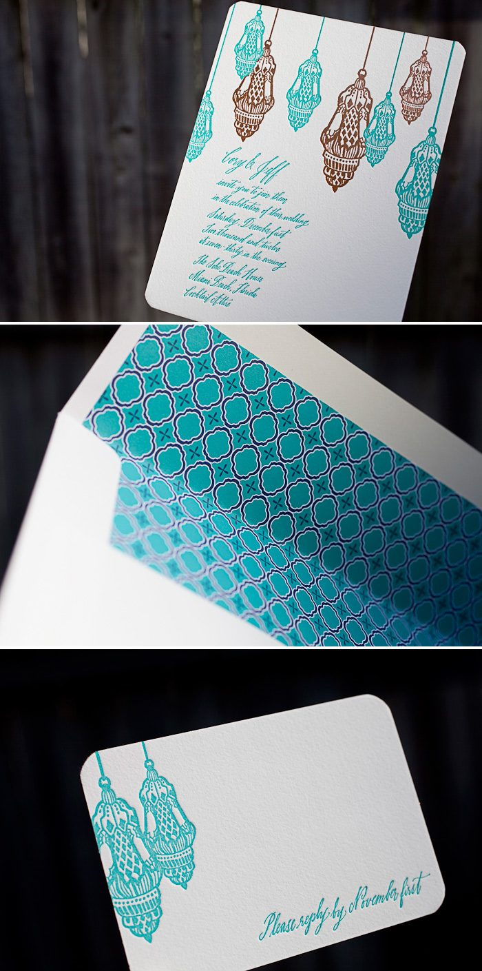 Our Moroccan Romantic design featured in a colorful combination of letterpress and foil stamping.