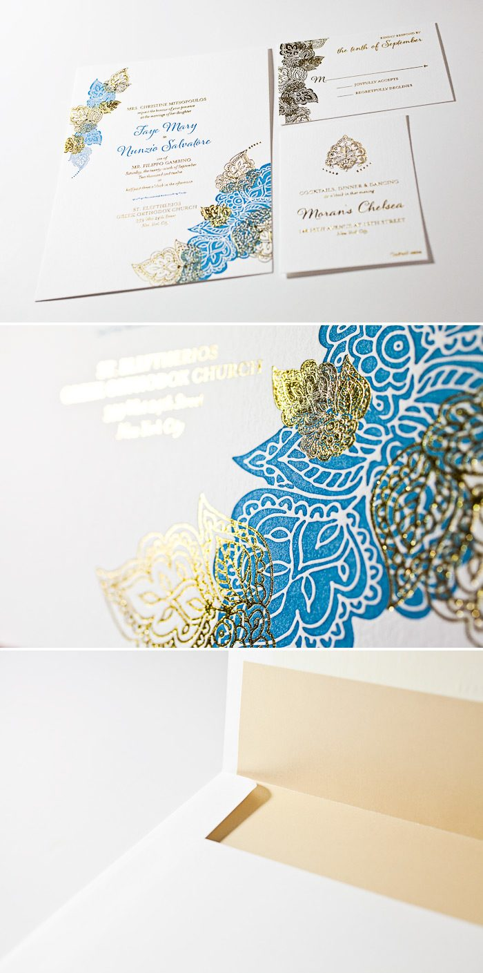 This is a combination of letterpress and foil wedding invitations in our Divya Formal design.