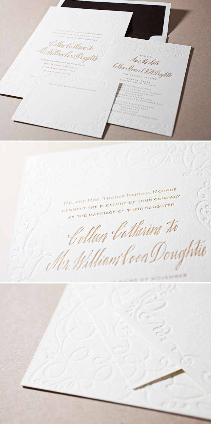 This is a unique customization of the Aria design in blind deboss and antique gold letterpress inks.