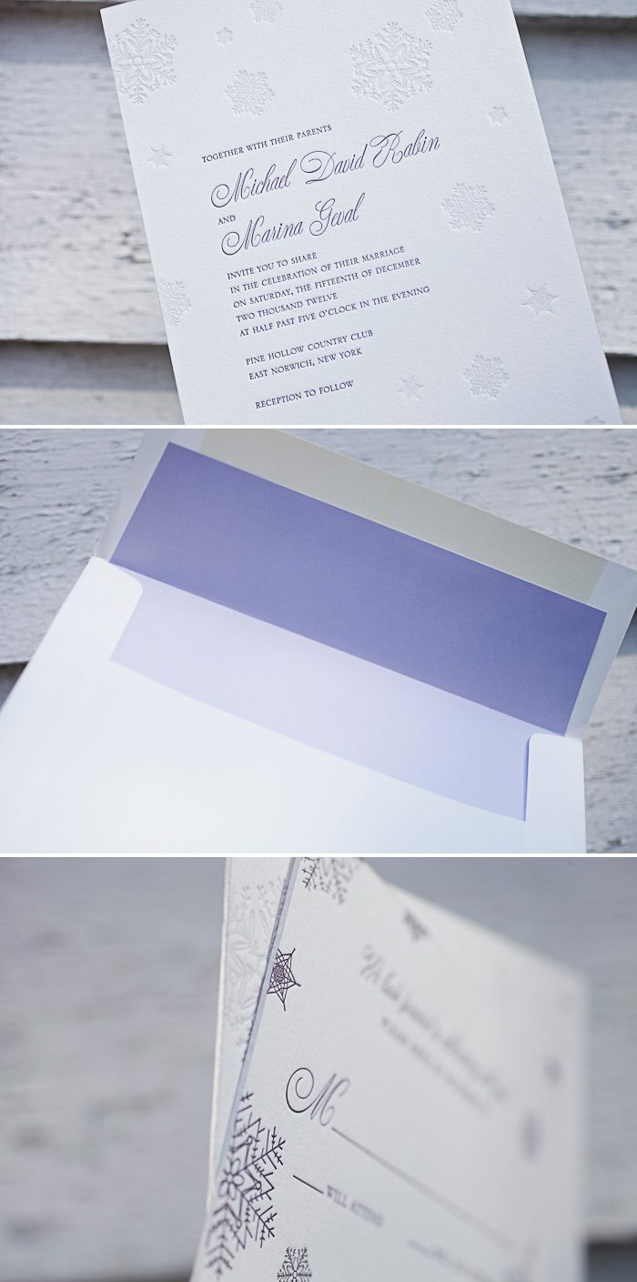 Snowflakes and letterpress make our Alpine letterpress wedding invitation a great choice.