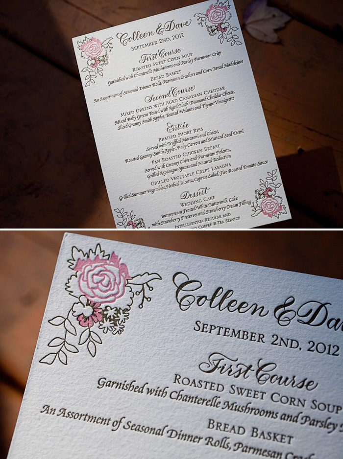 A romantic letterpress wedding menu in a customization of our Chapin design.