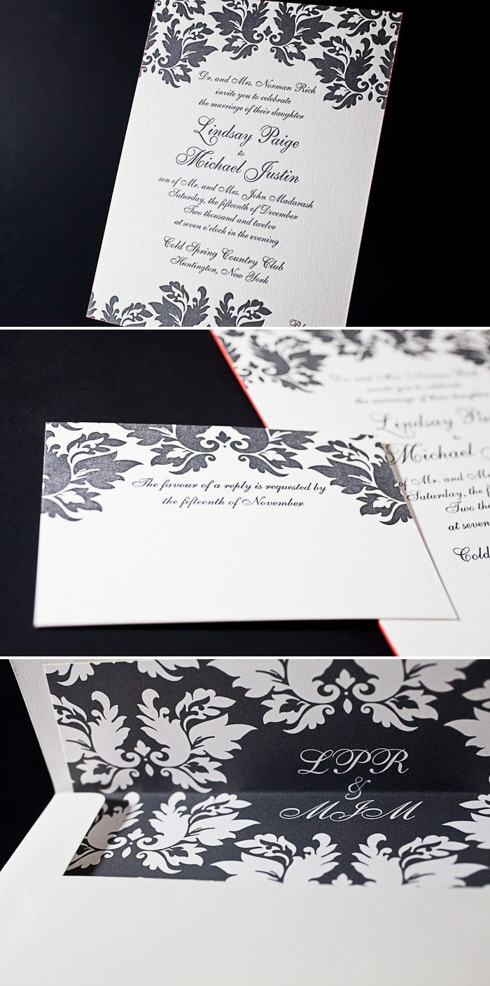 This formal and elegant customization of Damask is letterpressed in one color.