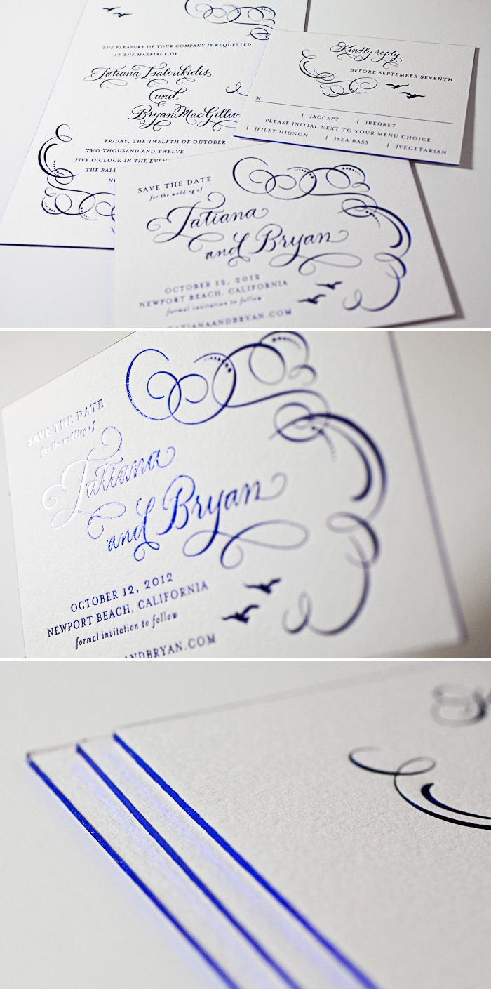This foil stamped customization of Bella Figura's Ornate Flourish design features birds and hand calligraphy.