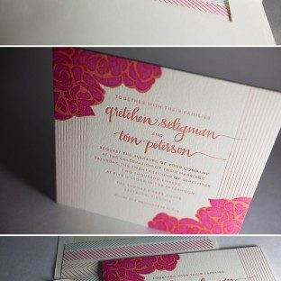 This whimsical and colorful letterpress wedding invitation is a customization of Bella Figura's Rose design.