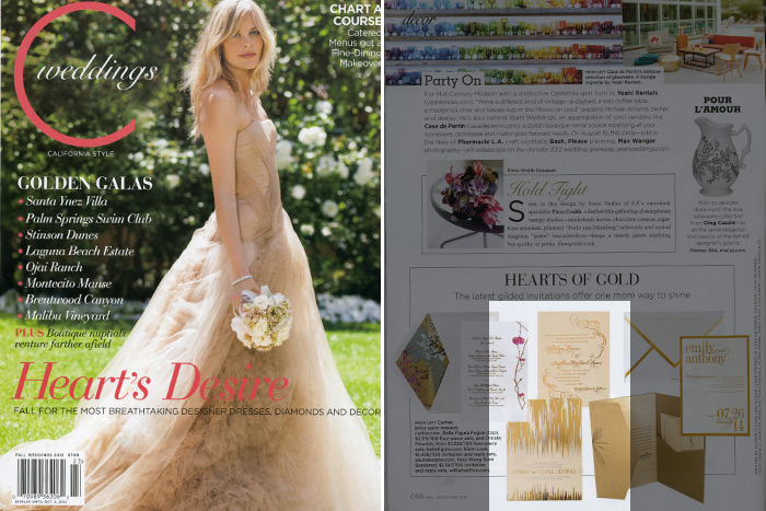C Magazine featured Bella Figura's foil stamped Fugue and Ornate Flourish invitations as part of their party inspiration palette