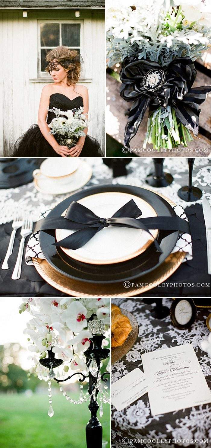 The traditional black and white wedding gets a modern twist and our Carlyle design is so fitting.