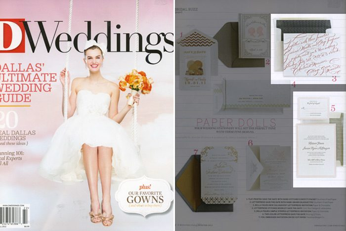 The fall 2012 issue of D Weddings featured Bella Figura dealer Paper & Chocolate along with Bella Figura's New Calligraphy and Simple Stripes designs