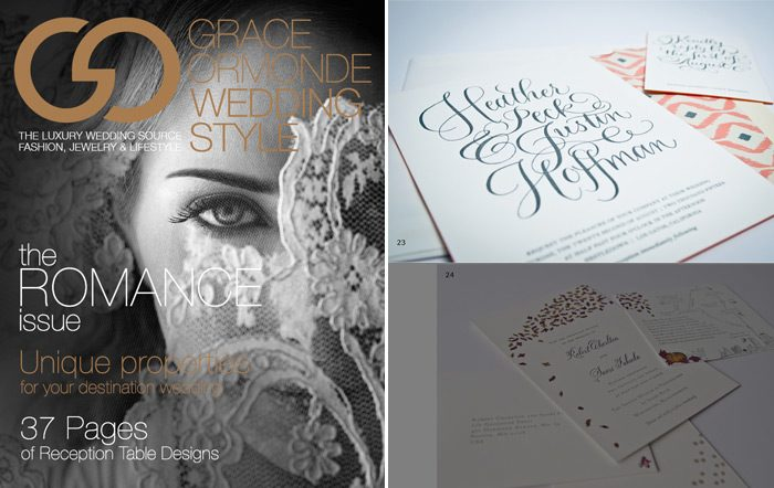 Grace Ormonde Wedding Style featureda letterpress invitation called Simple Charms from Bella Figura in their second digital issue