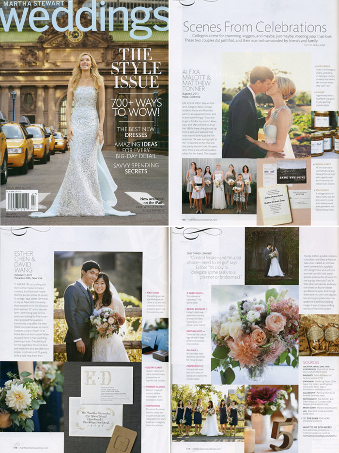 Two invitations from Bella Figura were featured in the 2012 Fall issue of Martha Stewart Weddings