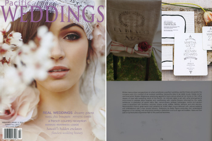 Pacific Weddings included two modern invitations from Bella Figura in their summer/fall 2012 issue