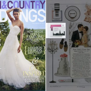 Town & Country Weddings featured Bella Figura's Charmed NY letterpress invitation in their fall issue. Charmed NY is an invitation that features the NYC skyline