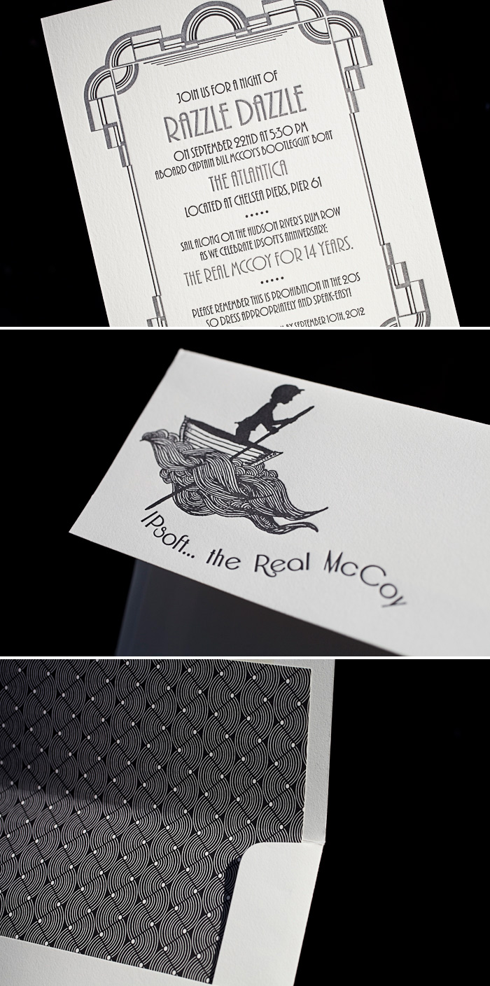 Our Deco letterpress invitation is customized in 2 colors for a 1920s theme