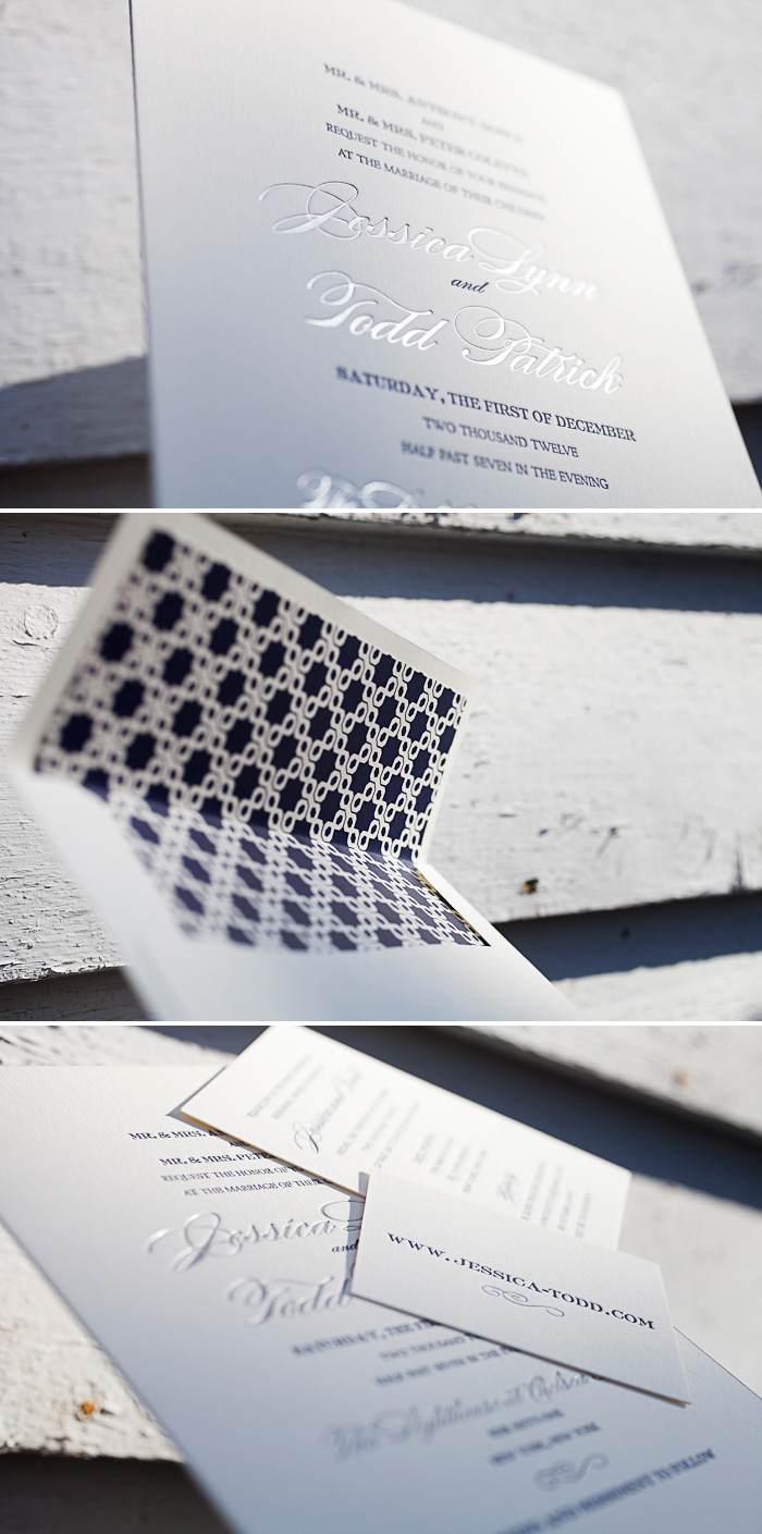 Letterpress and foil make our Deveril wedding invitation stand out