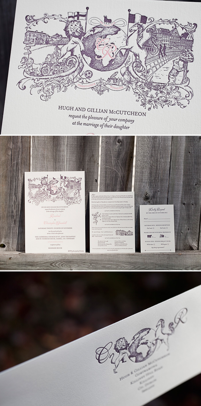 Custom letterpress wedding invitations for an Irish wedding