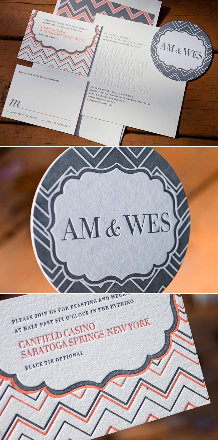 Letterpress wedding invitation suite complete with coasters