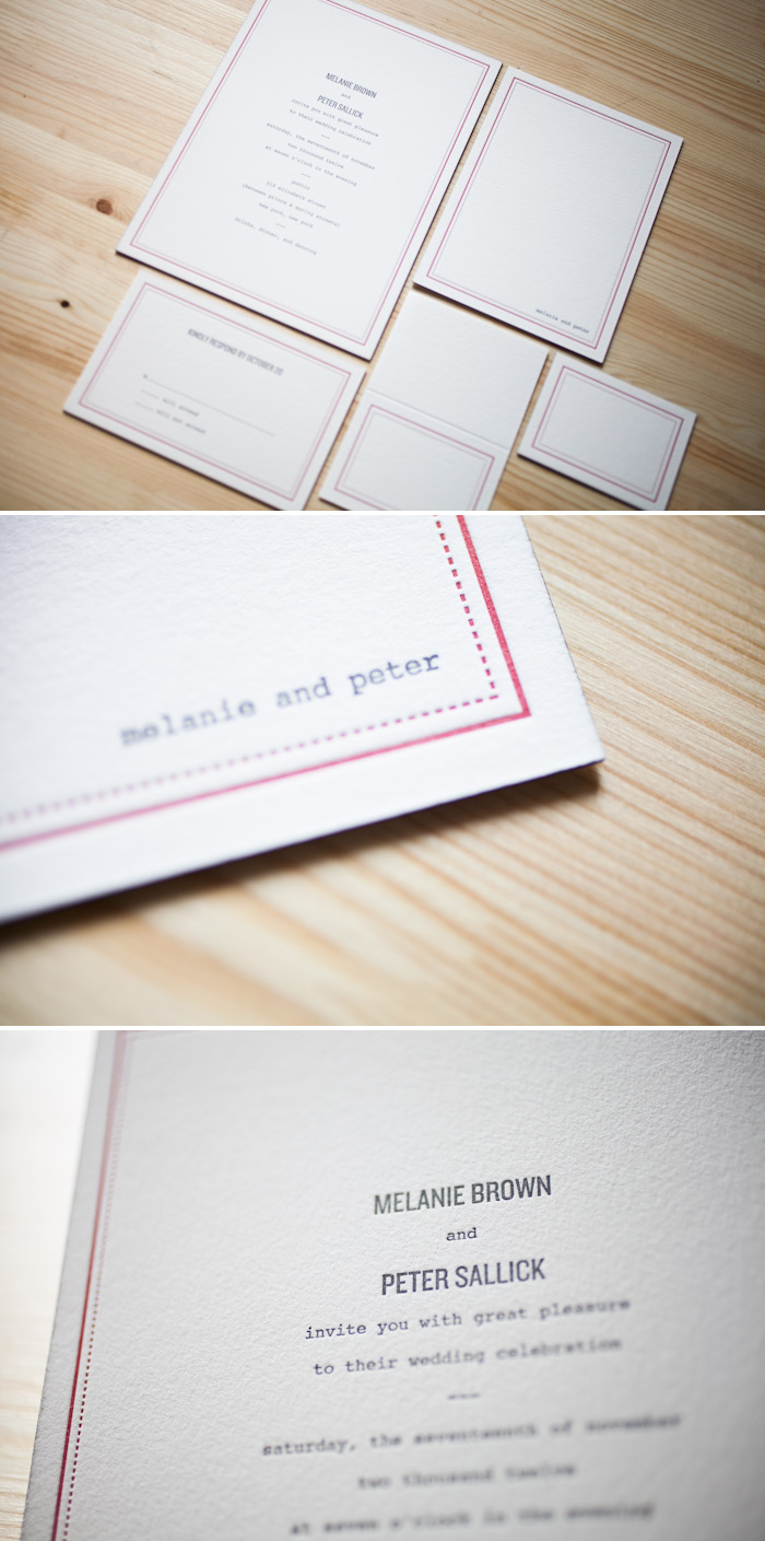 Cardinal and charcoal letterpress inks are carried throughout this wedding suite