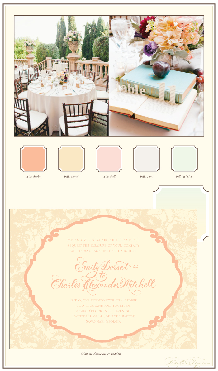 Pastels transform our Delambre Classic letterpress wedding invitations.