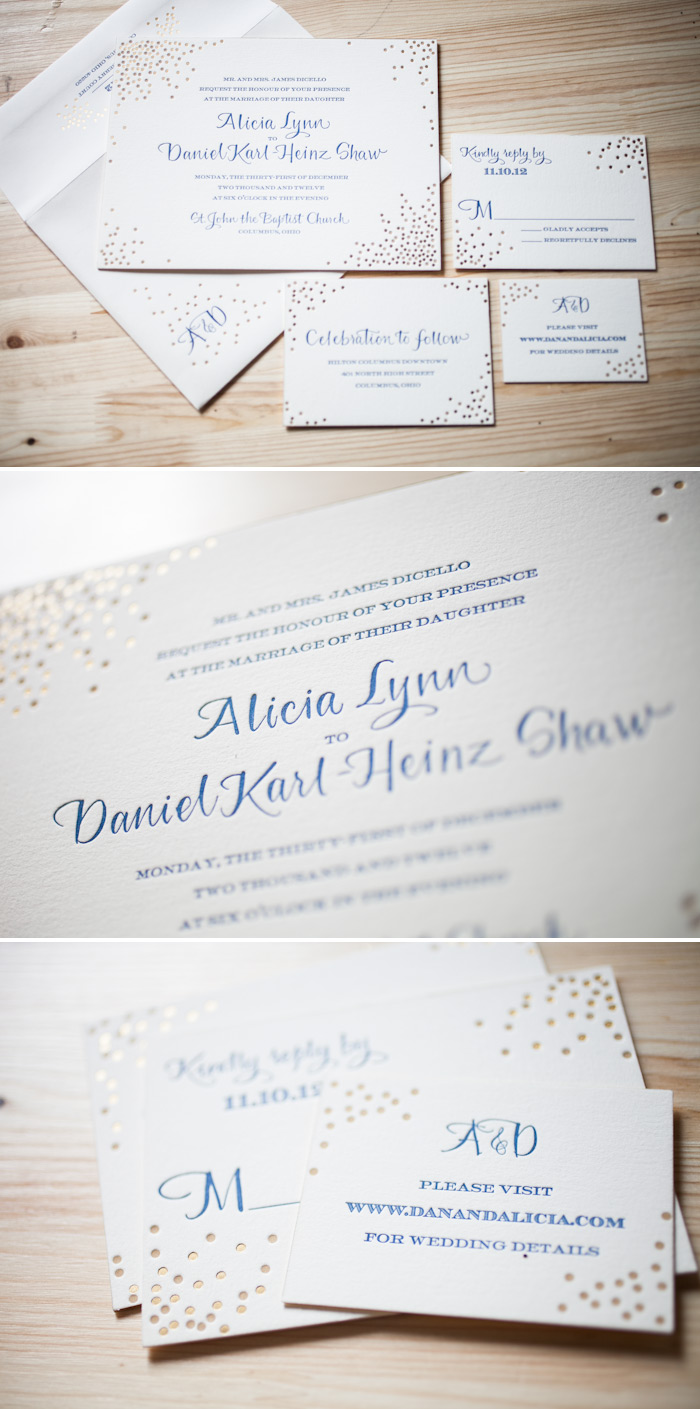 Mixing foil stamping and letterpress gives a party-feel to this New Year's Eve wedding