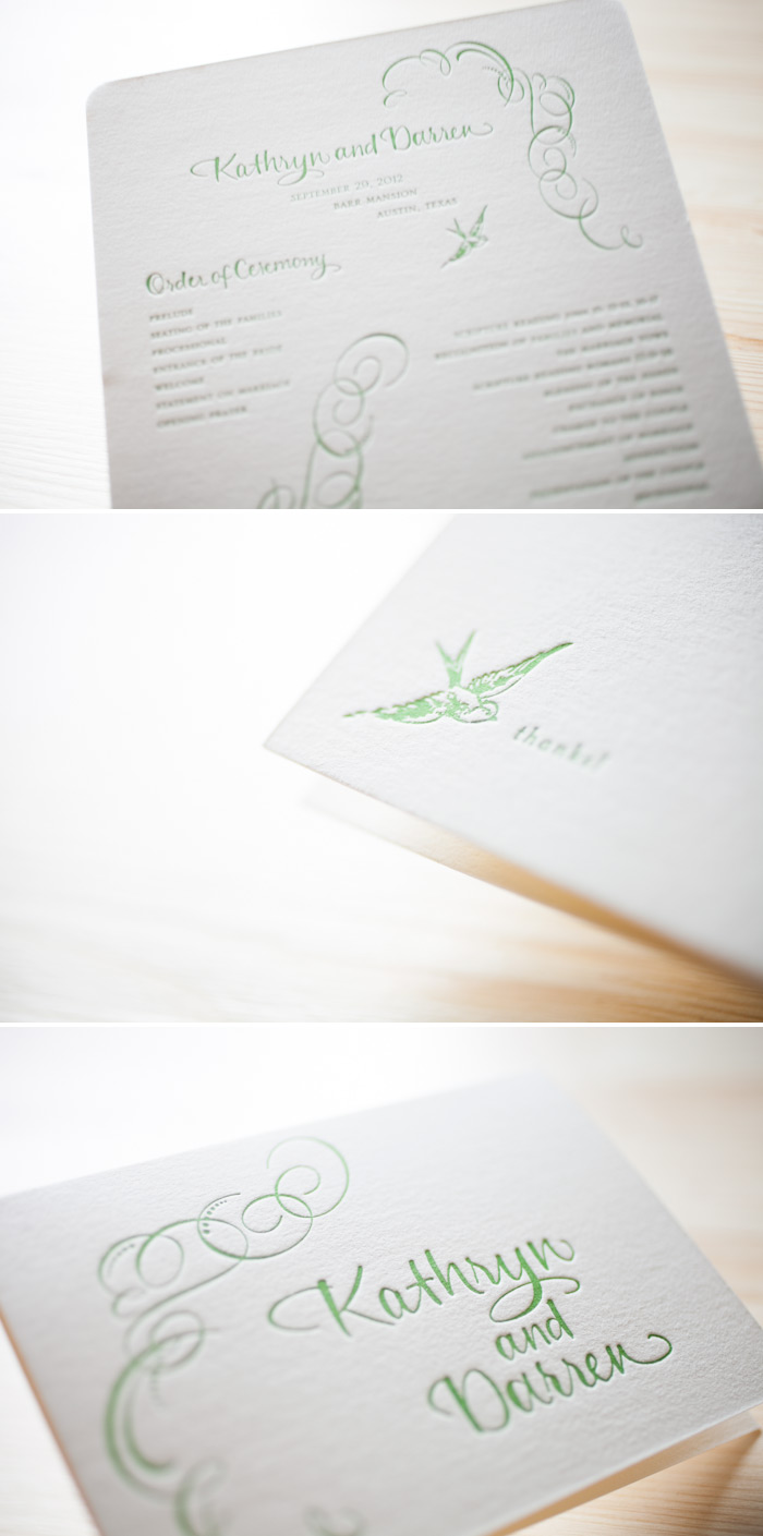 Oversized letterpress wedding program