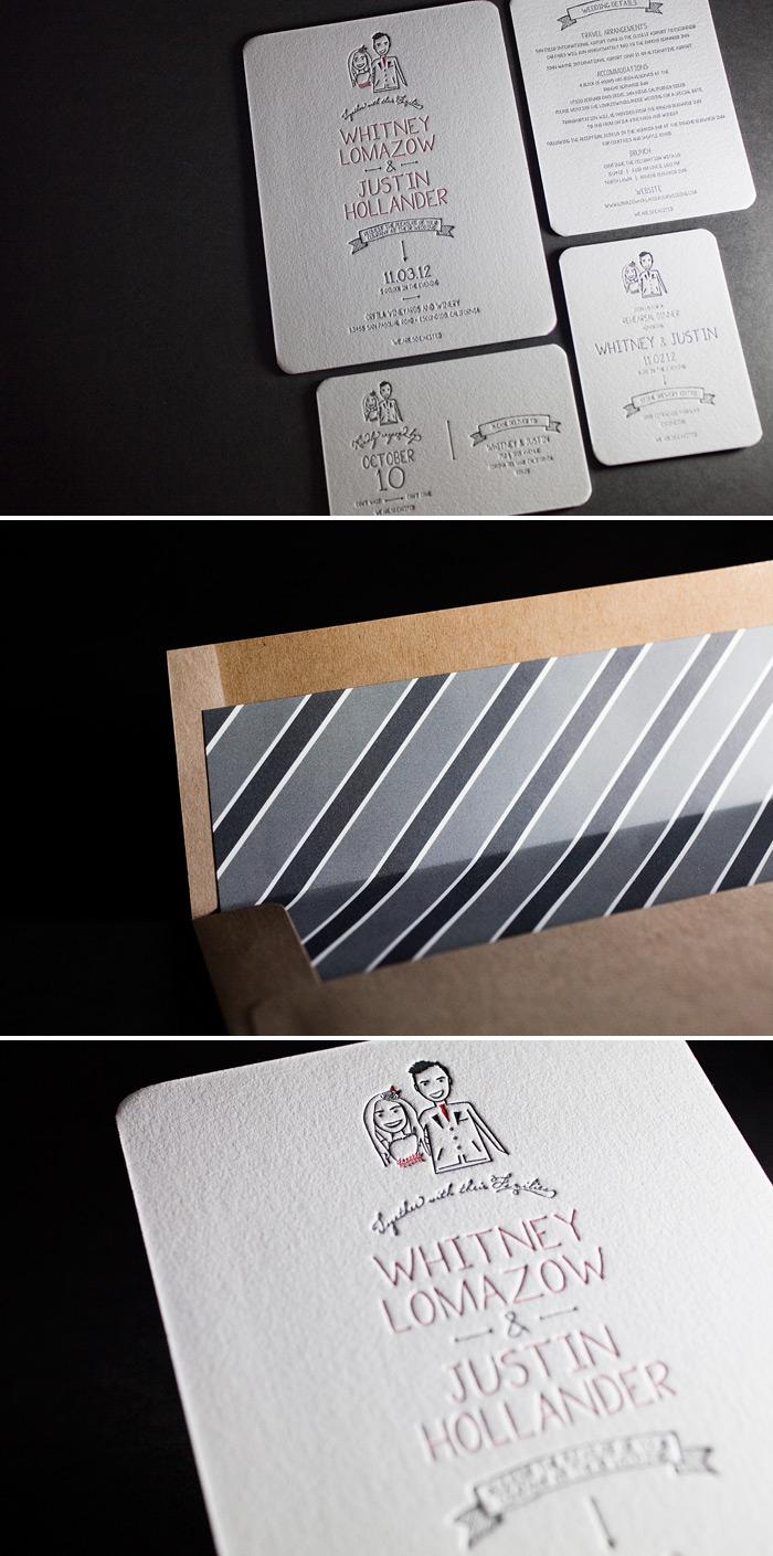 This is a modern and folky customization of Bella Figura's Dash letterpress wedding invitation design.