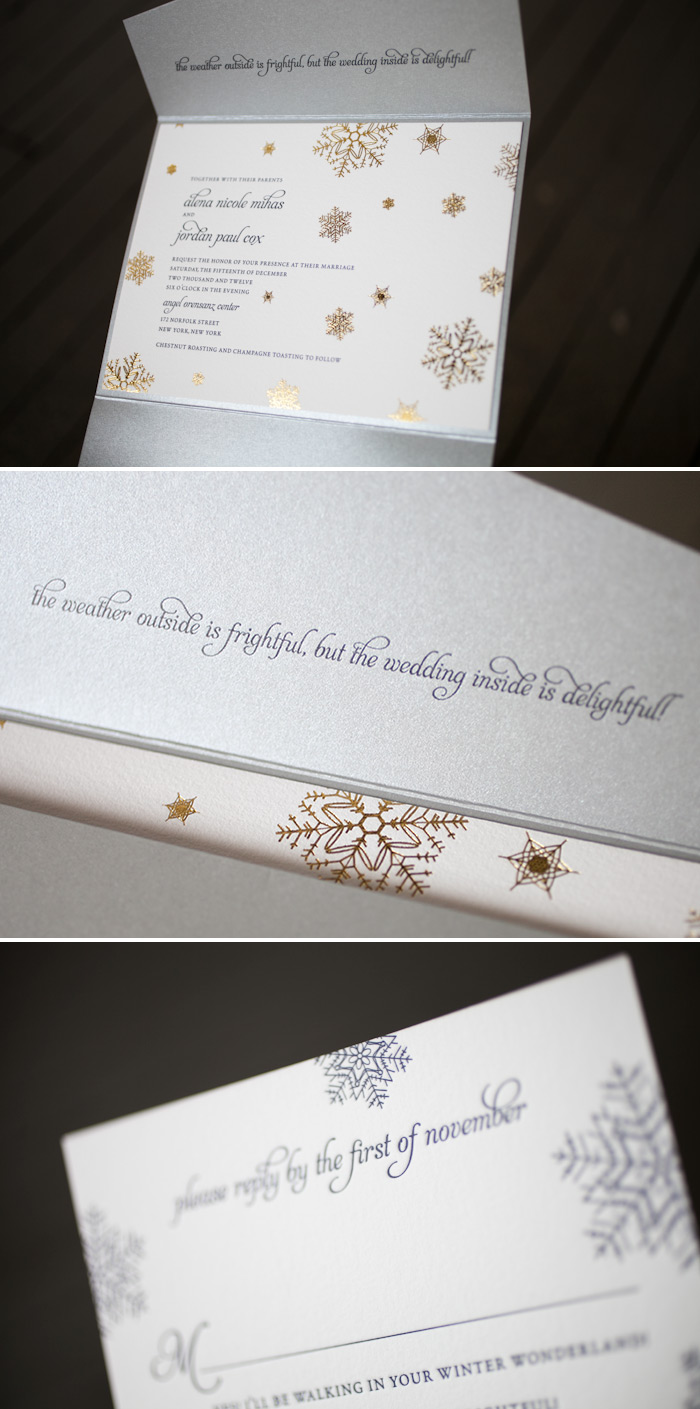 Letterpress and foil make this customization of our Alpine design perfect for a wintery wedding