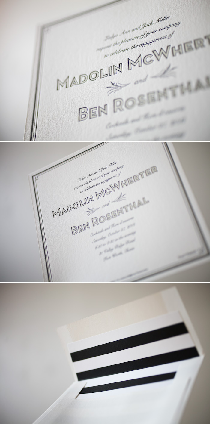 We can letterpress print custom engagement announcements and invitations