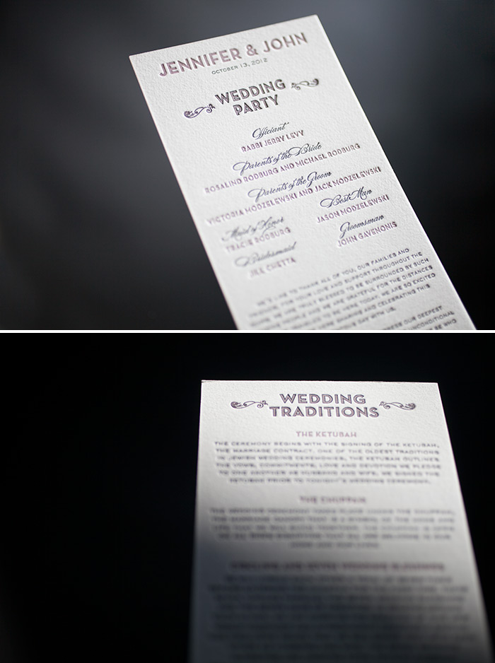 Double-sided letterpress wedding programs are the perfect choice your wedding day!
