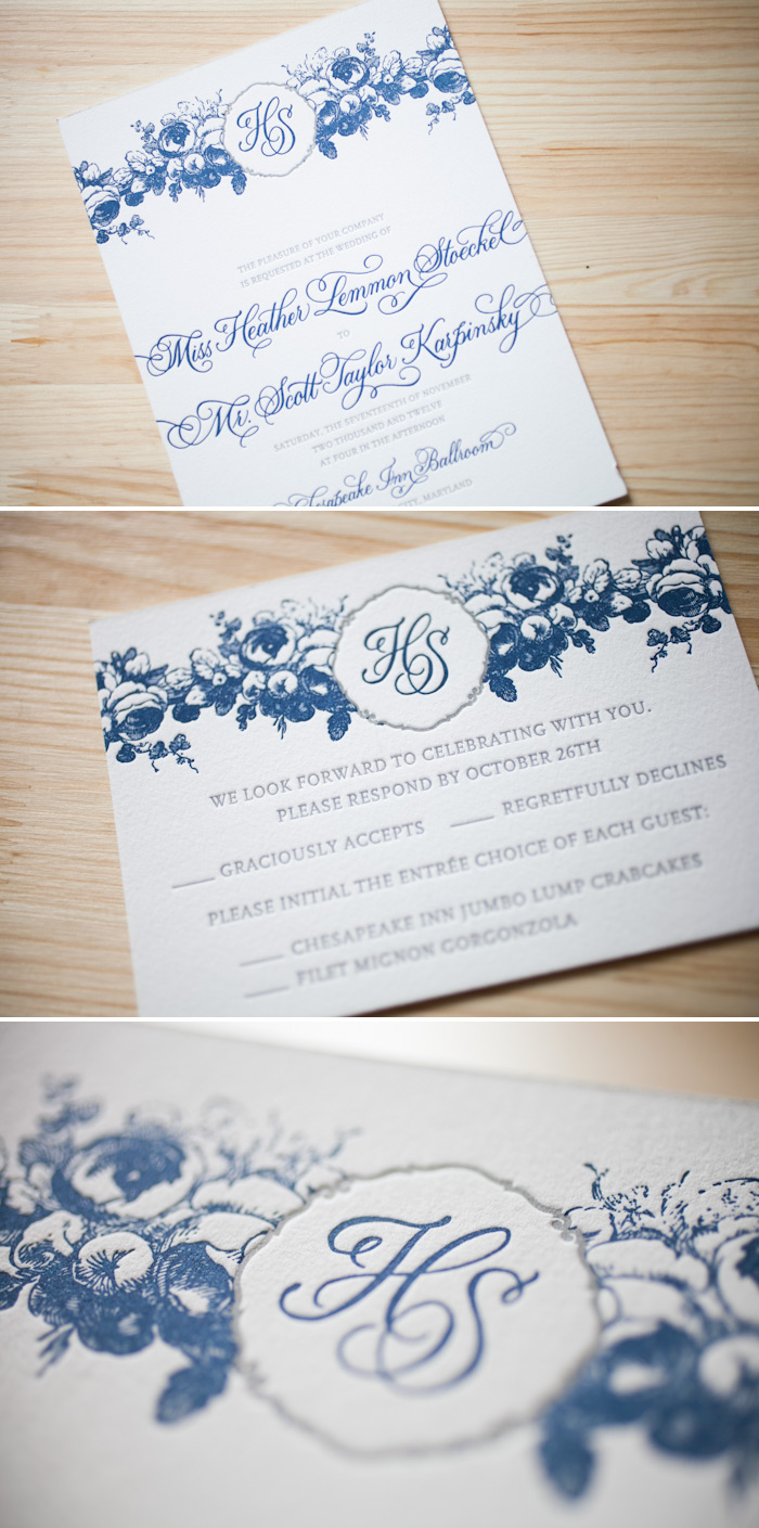 Letterpress wedding invitations that feature custom calligraphy monograms.