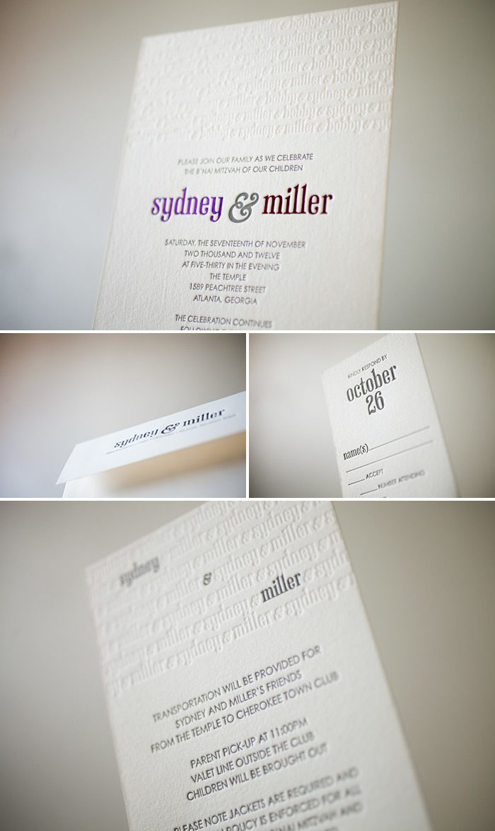 4 colors make this custom submitted wedding invitation design stand out