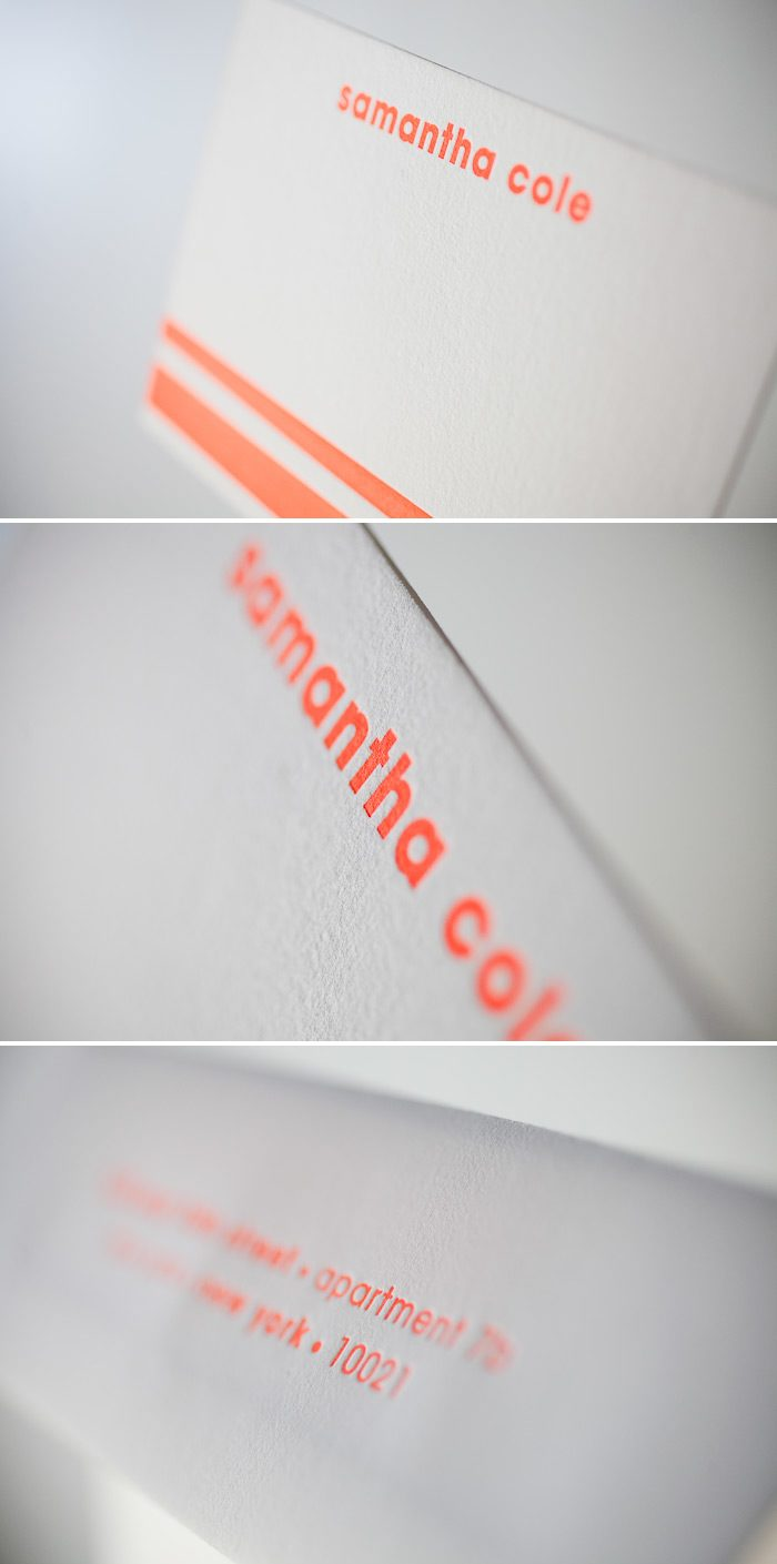 Neon letterpress makes these thank you notes unique.
