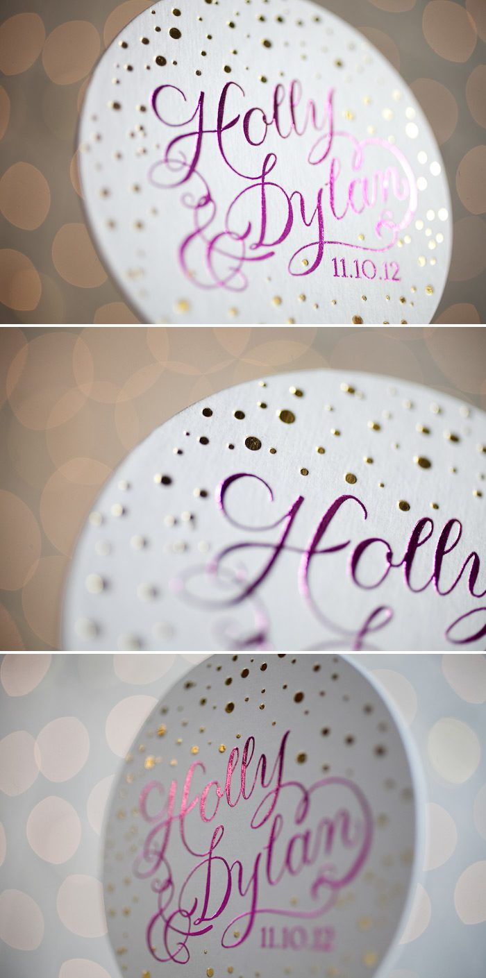 Custom foil stamping creates gorgeous coasters.