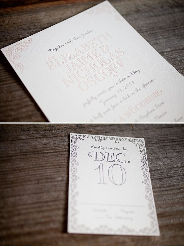 Whimsical fonts and soft pastels make the most romantic letterpress wedding invitations