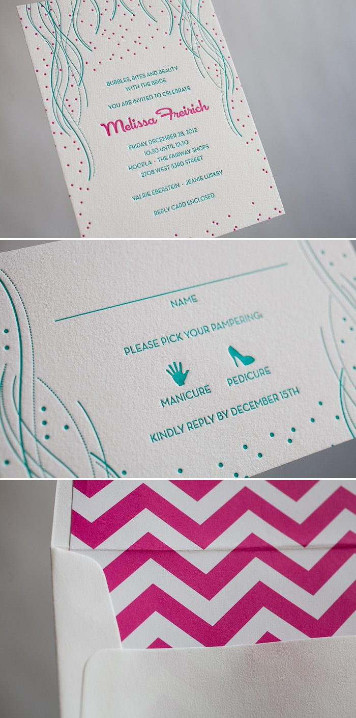 Colorful letterpress bridal invitations make your guests feel unique!