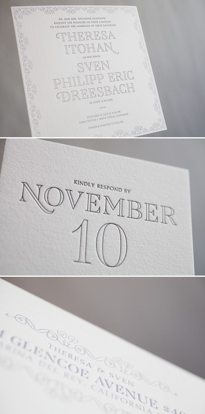 Square letterpress wedding invitations