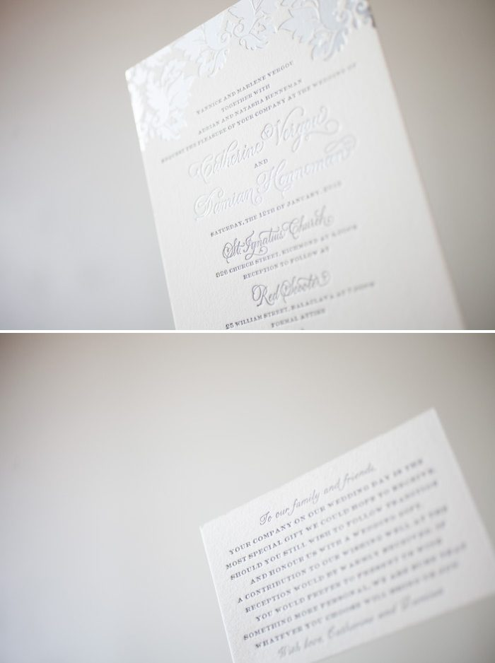 Silver metallics make our Damask design a romantic choice