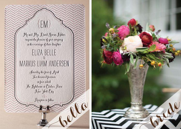 Trendy chevron letterpress wedding invitations