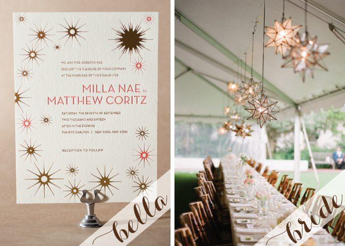 Starstruck over these Celeste letterpress and foil wedding invitations.