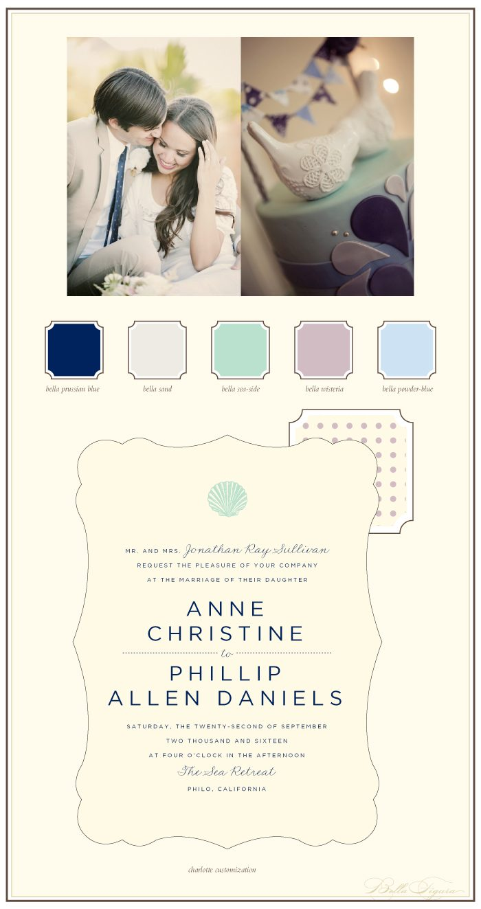 Pastels are the perfect hues for this letterpress wedding invitation