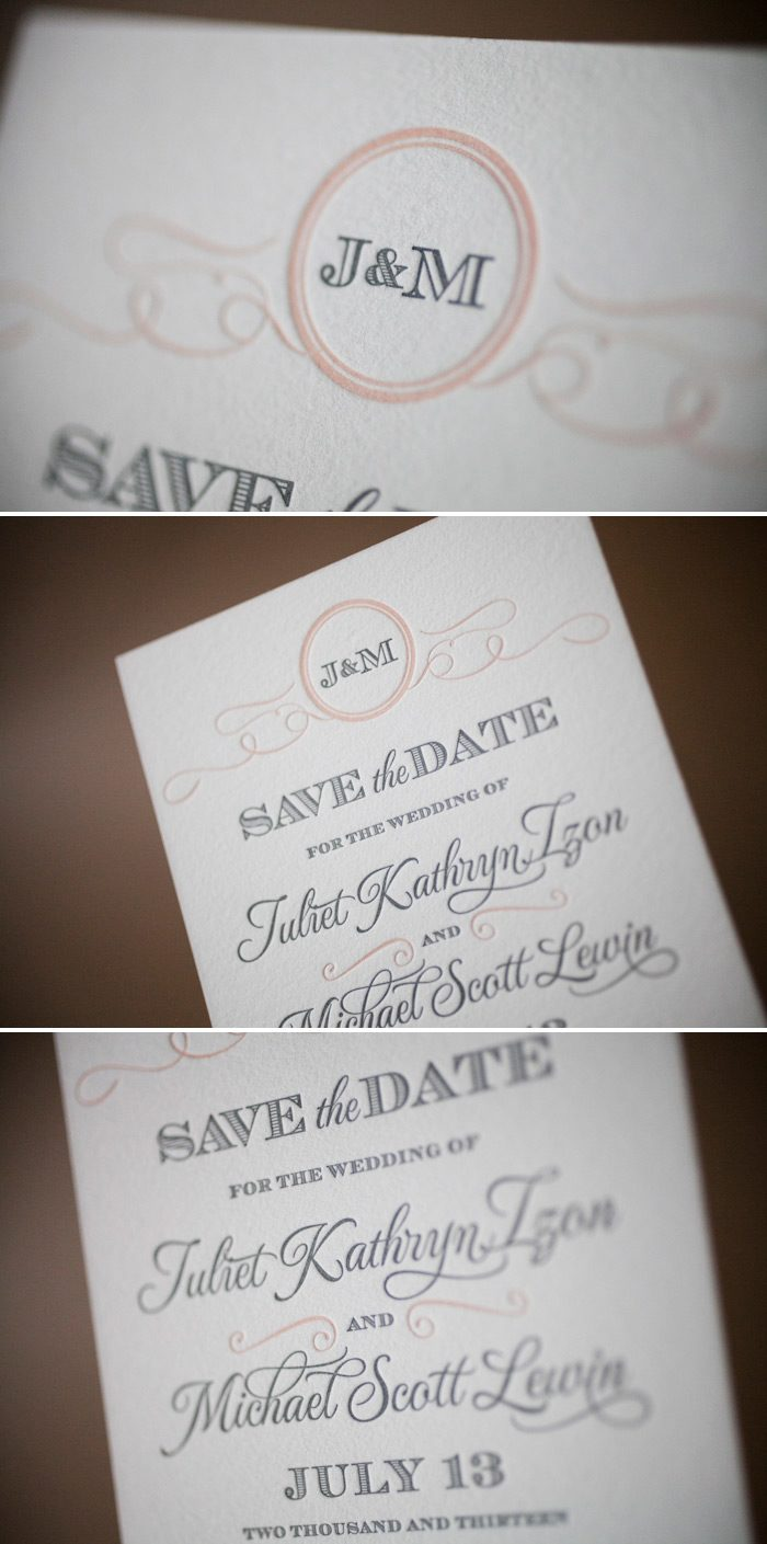 Romantic and traditional letterpress save the dates