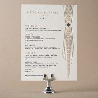Bejeweled letterpress wedding menus from Bella Figura
