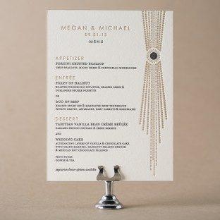 Bejeweled letterpress wedding menus from Bella Figura