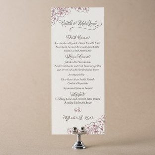 Romantic Floral tea letterpress wedding menus from