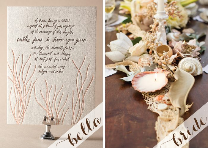 Create a natural nautical letterpress wedding invitation
