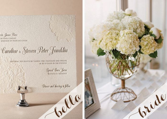 Tone-on-tone letterpress wedding invitations in a traditional style.